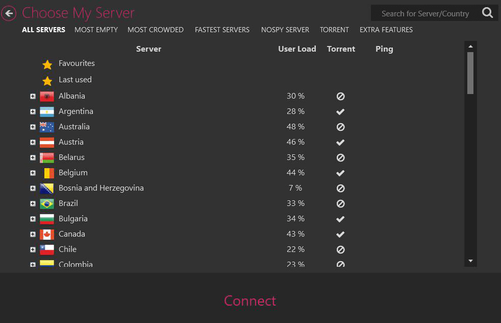 CyberGhost server picker