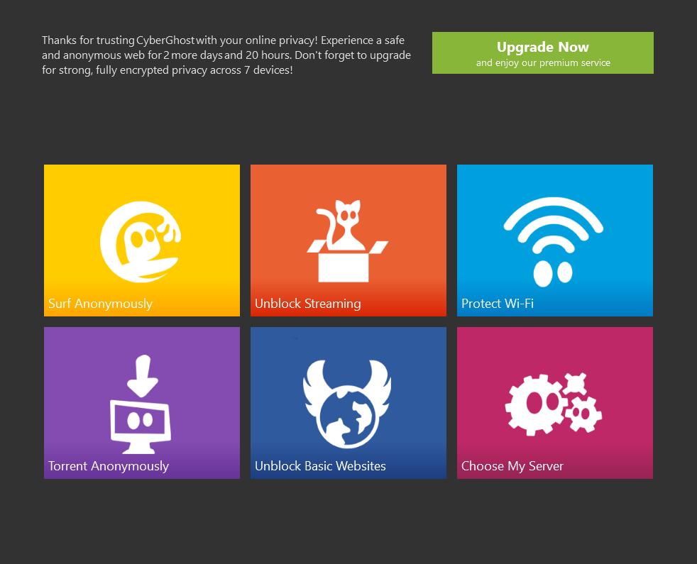 CyberGhost product screenshot
