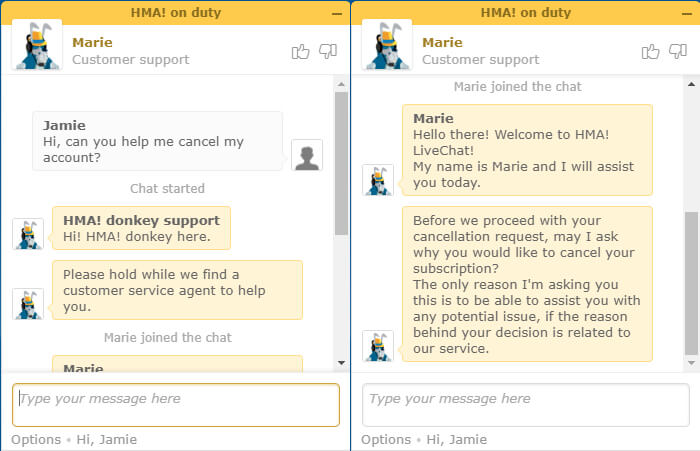 HideMyAss live chat support