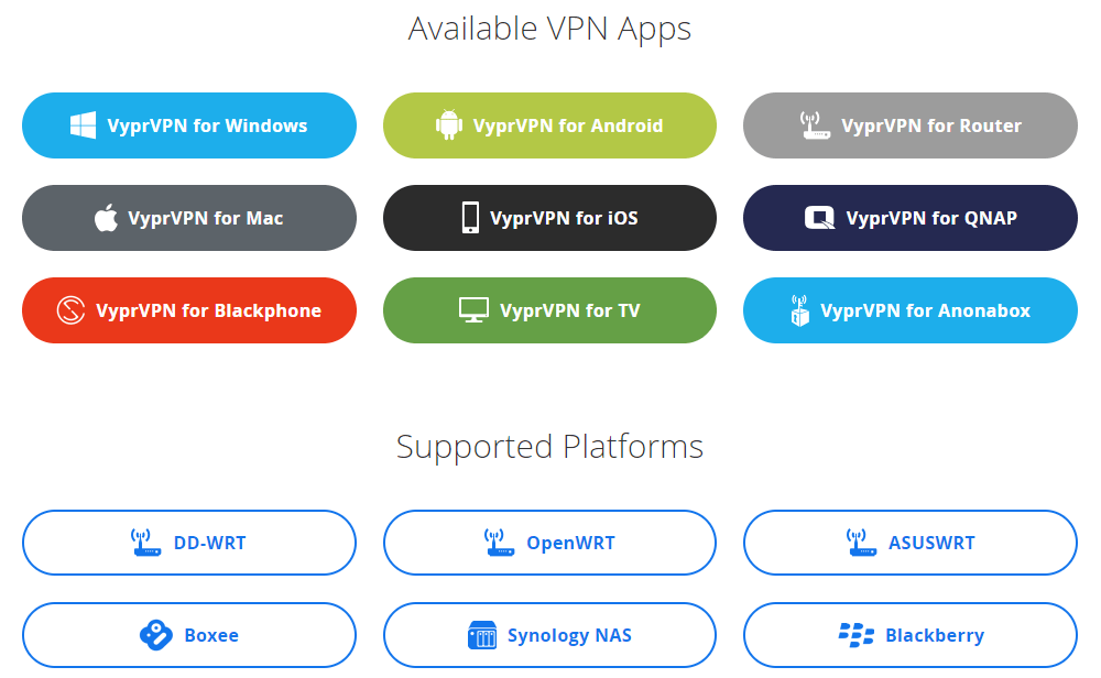 VyprVPN programs and apps