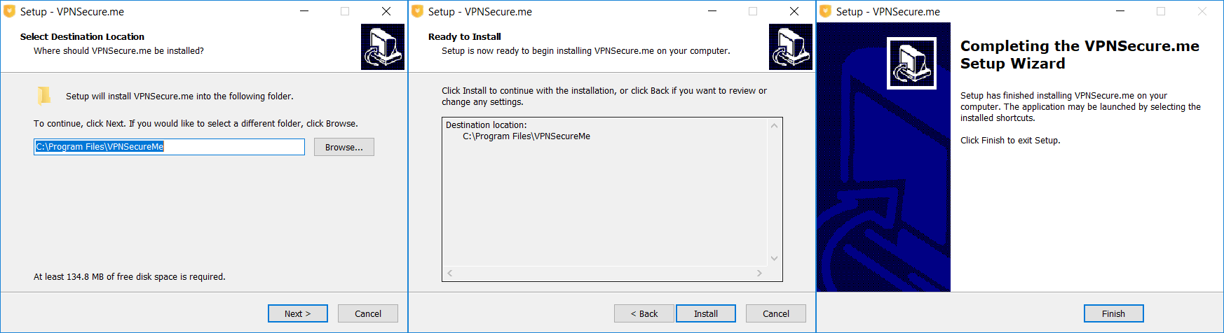 VPNSecure setup and installation