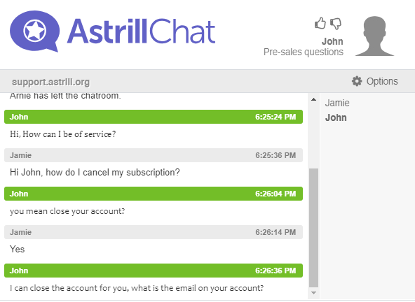 Astrill quick responsive live chat support