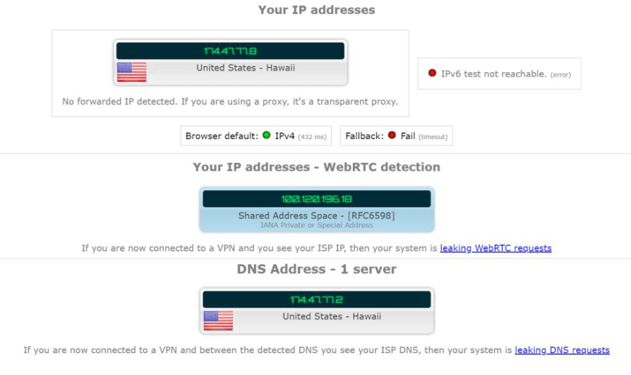 IP and DNS leak test