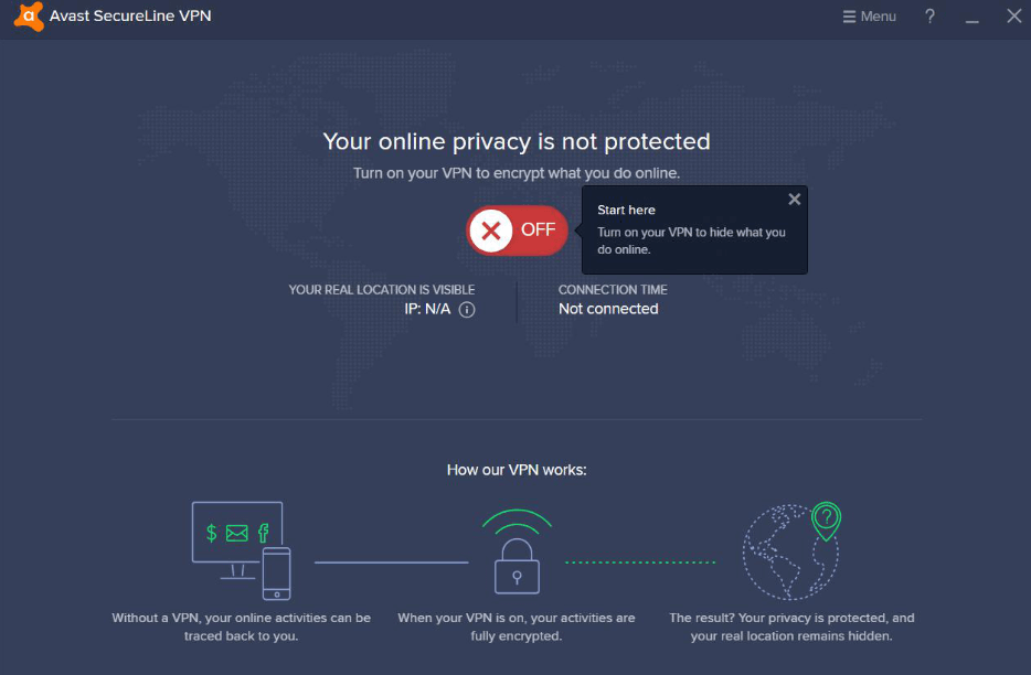 Avast SecureLine VPN one click interface