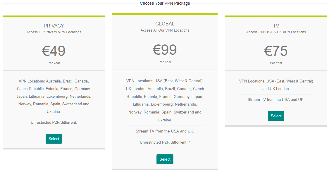blackvpn pricing table