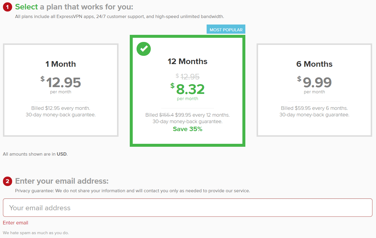 ExpressVPN pricing and payment plans