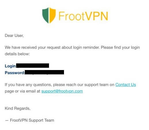 FrootVPN login credential email