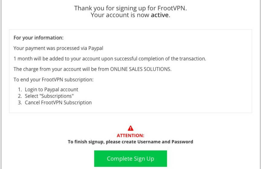 FrootVPN confirmation email