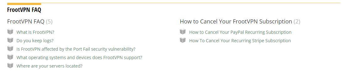 FrootVPN FAQ section