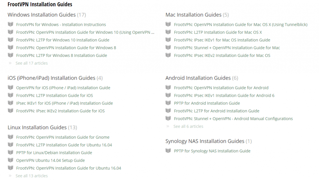 FrootVPN installation guides on website