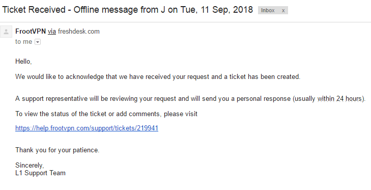FrootVPN email response to ticket