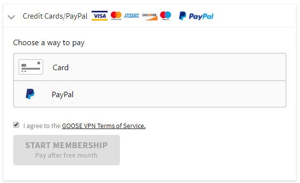 GooseVPN payment plans