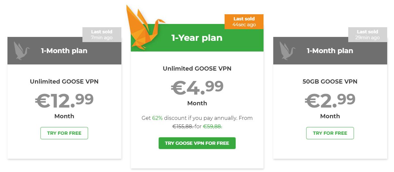 Goose VPN plans