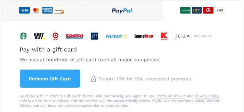 hotspot shield payment options