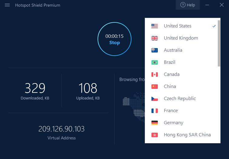 Hotspot Shield server picker