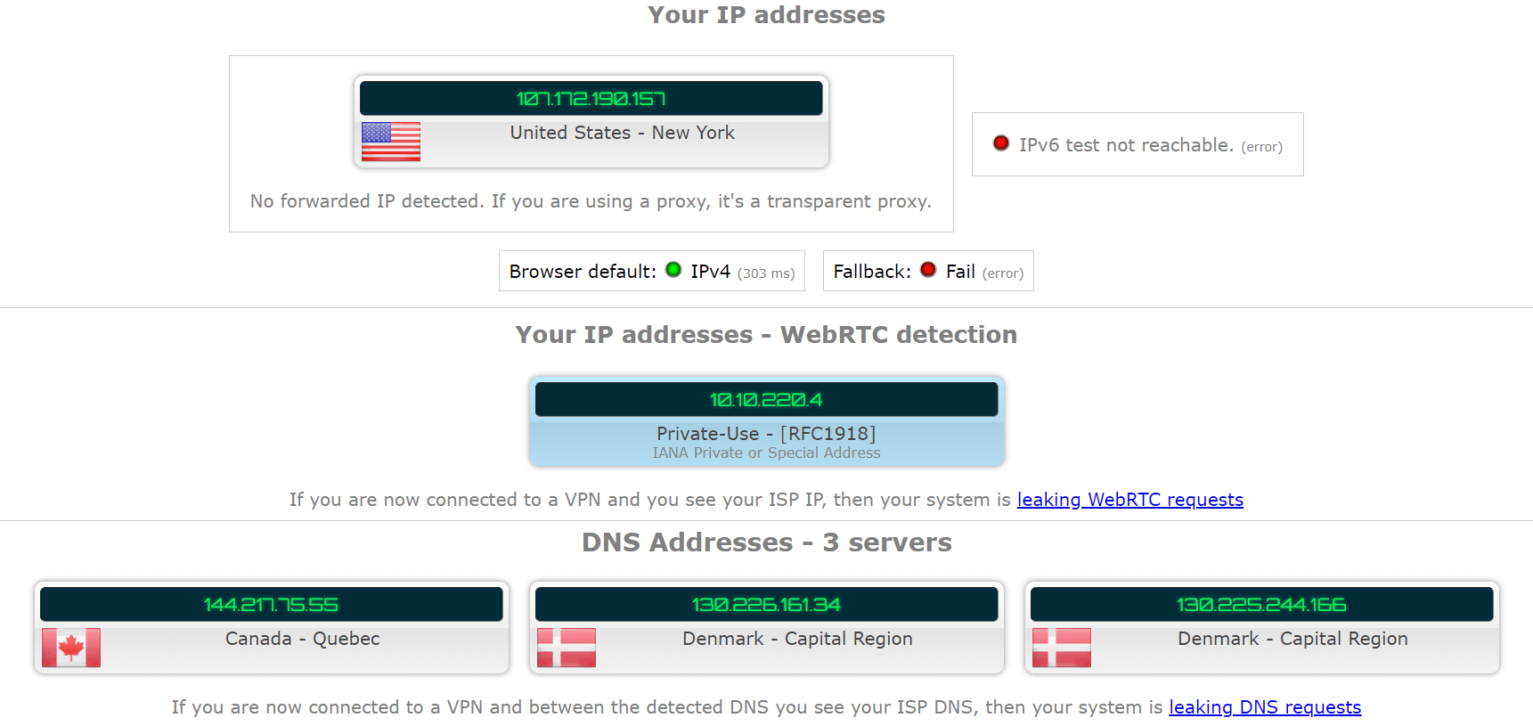 dns and ip leak test