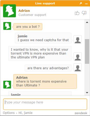 ibVPN live chat