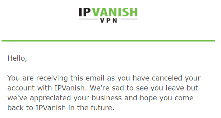 IPVanish confirmation email