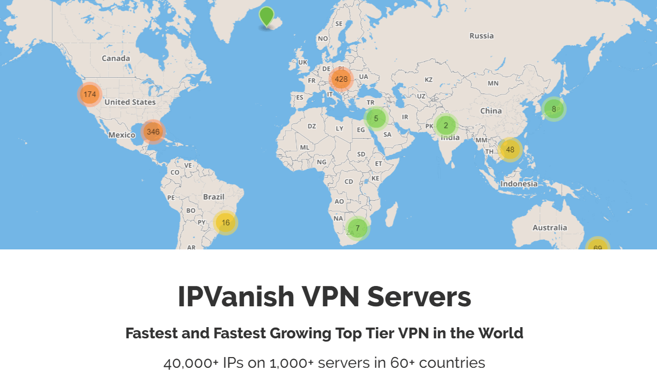 IPVanish servers ip and location