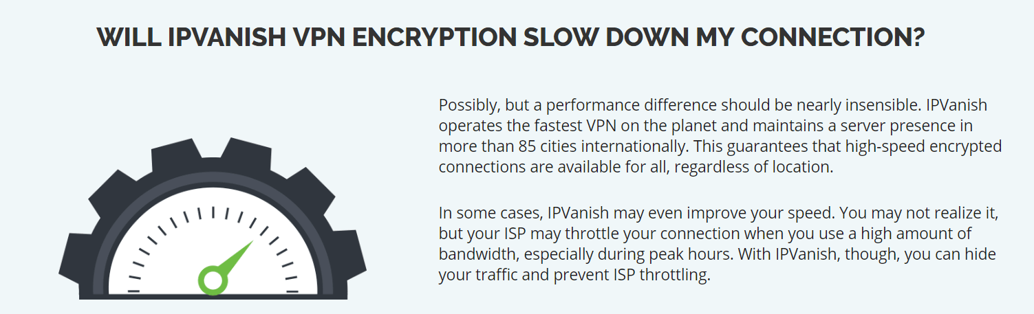 IPVanish encryption and throttle claims