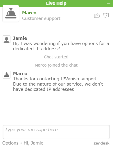 IPVanish live support