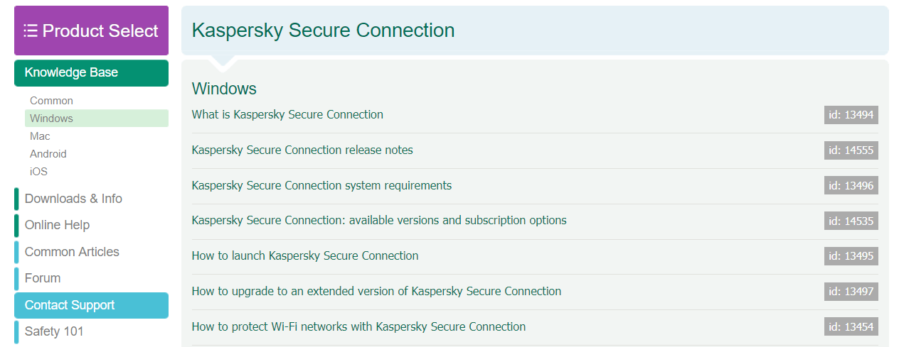 Kaspersky Secure Connection knowledge base