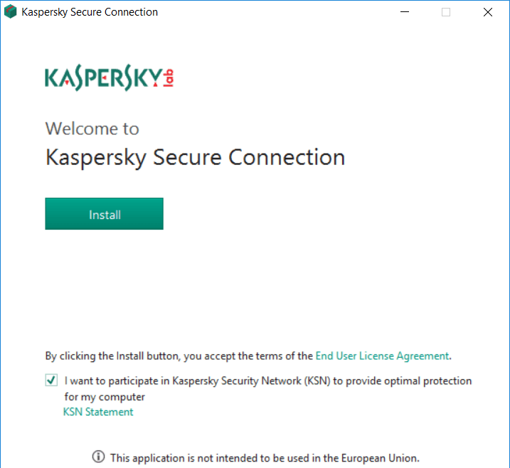 Kaspersky Secure Connection installation