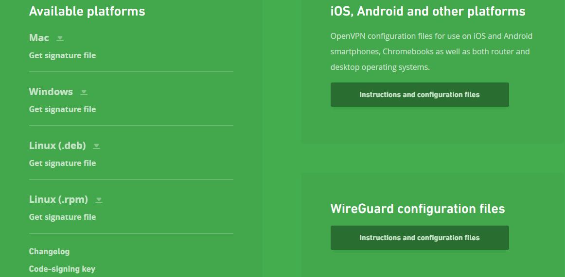 mullvad client screenshot