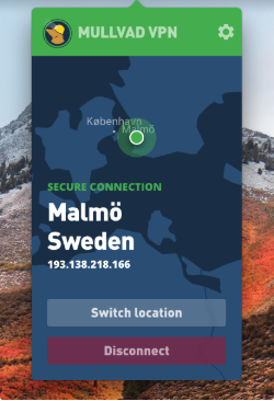 Mullvad VPN client interface