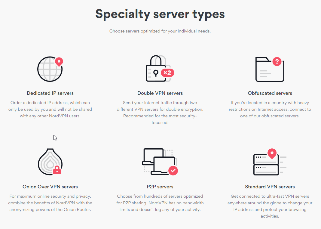 NordVPN specialty server features