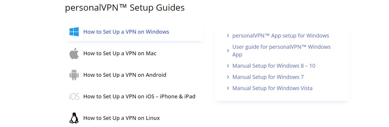 personalVPN setup guides