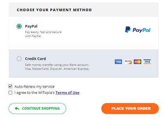 personalVPN payment method