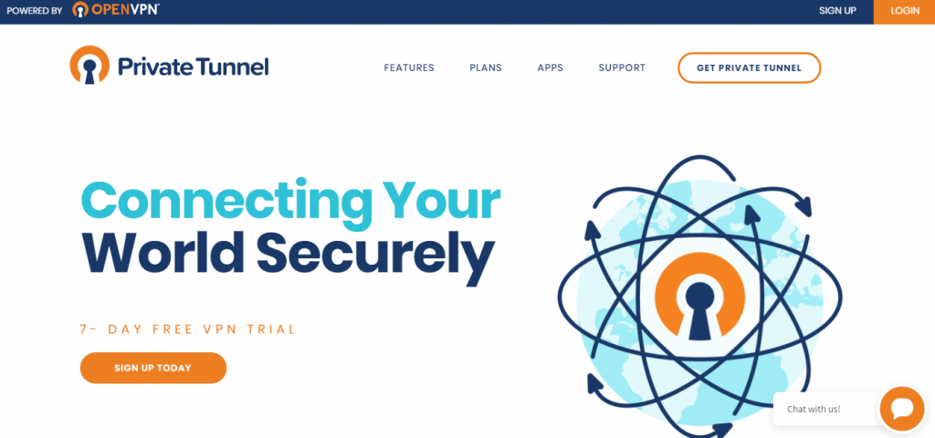 private tunnel website landing page