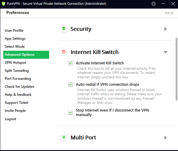 PureVPN kill switch and advanced options