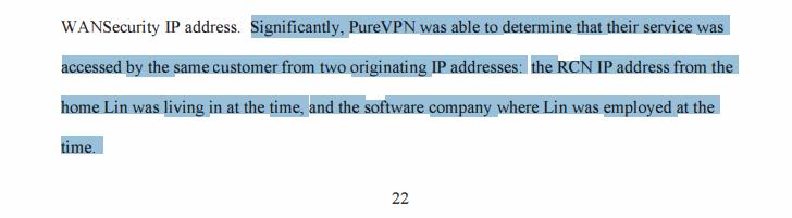 PureVPN US affidavit