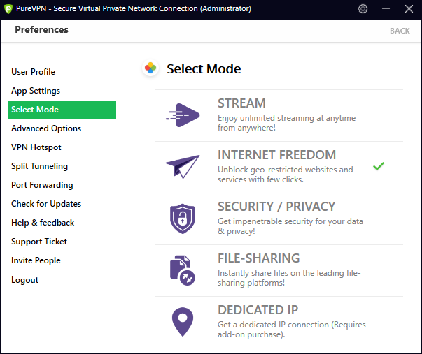PureVPN selection settings