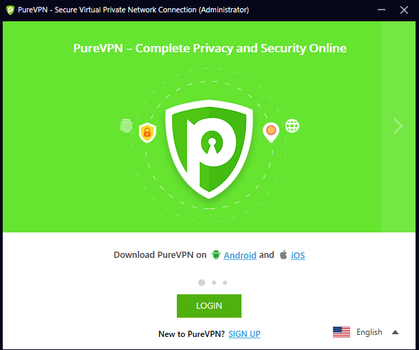 PureVPN client screenshot