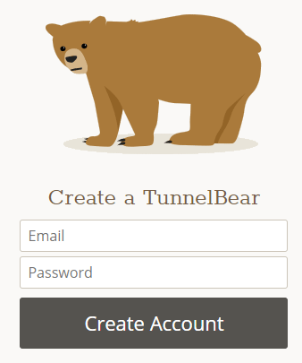 TunnelBear signup process