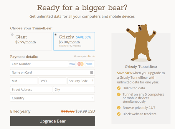 TunnelBear VPN billing