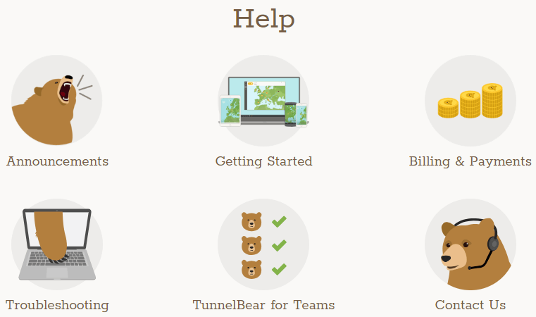 TunnelBear help and knowledge base