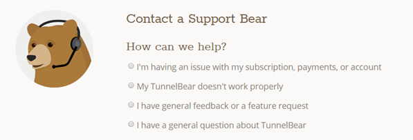 TunnelBear VPN support