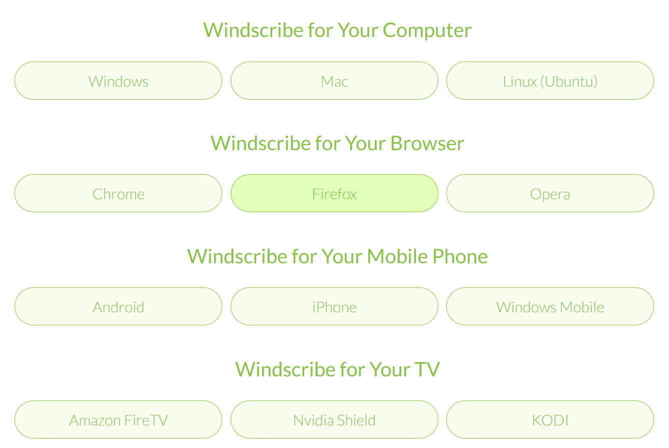 windscribe compatibility and devices
