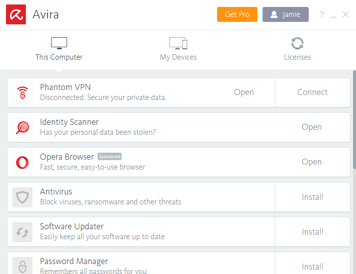 Avira Phantom VPN app