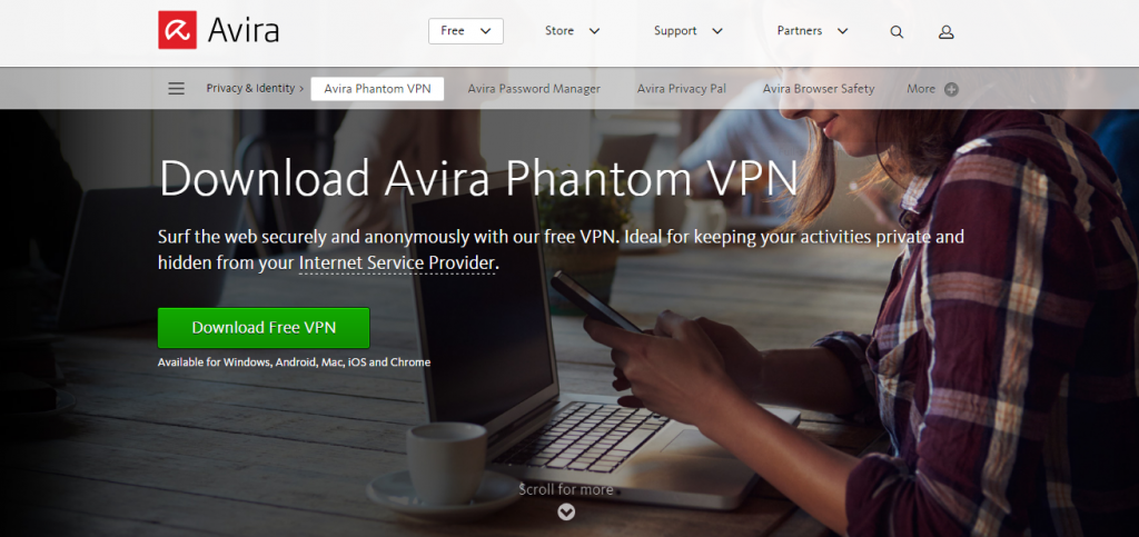 Avira Phantom VPN website
