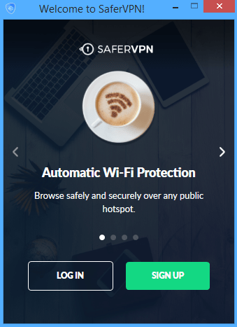 SaferVPN log in