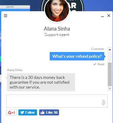 SaferVPN live chat