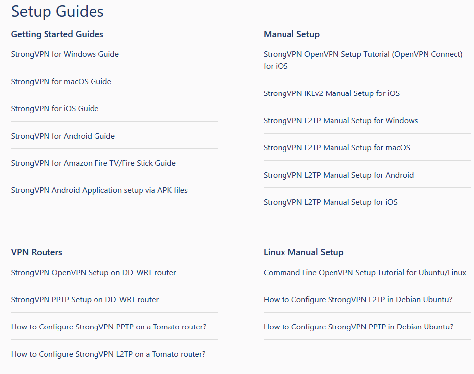 StrongVPN setup guides