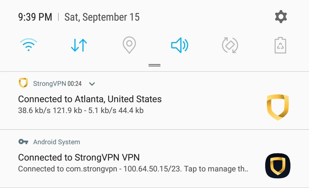 StrongVPN mobile notification
