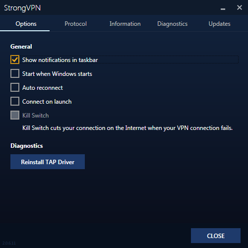 StrongVPN options