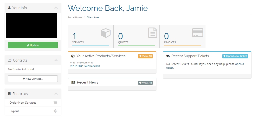 AceVPN client dashboard